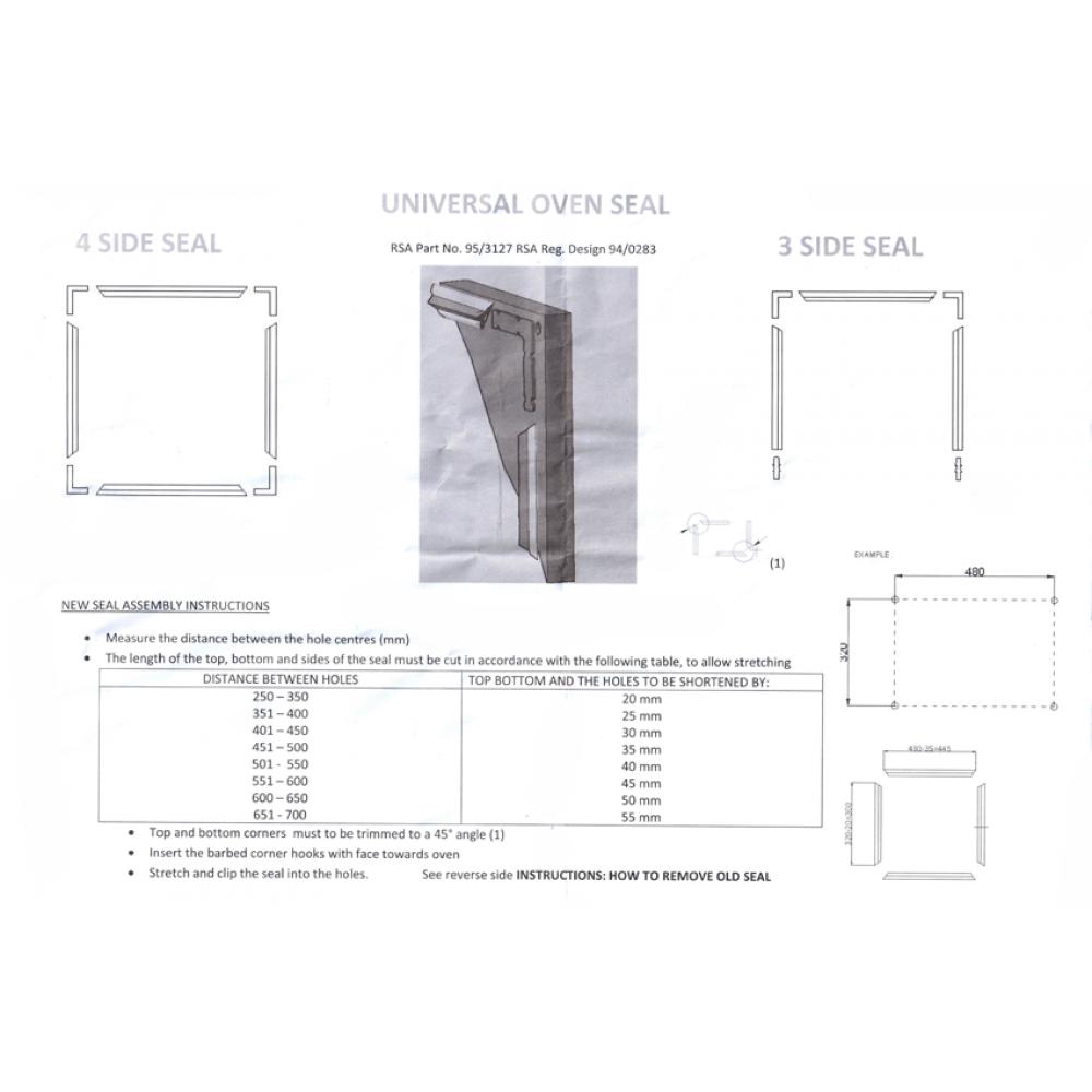 Уплотнитель двери духовки универсал, WN356
